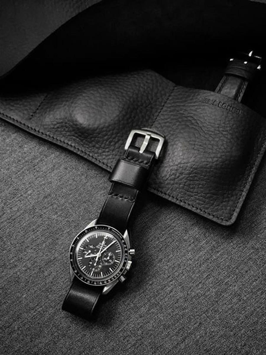 """Brit"" Black Leather NATO Watch Strap"