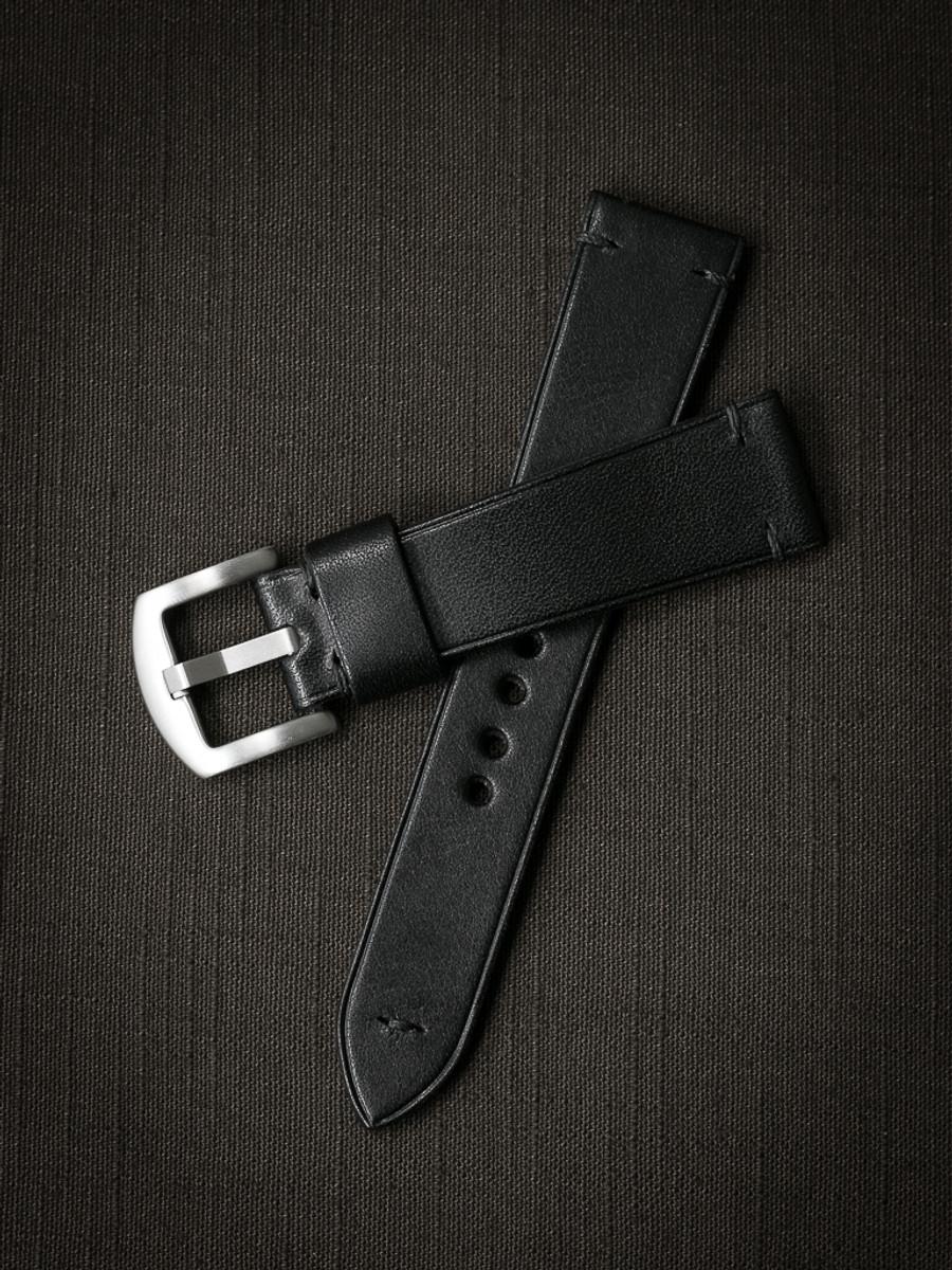 """Jono"" Black Leather Watch Strap"