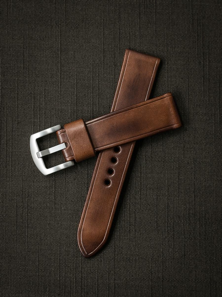 """Beckham"" Russet Vintage Tan Leather Watch Strap"