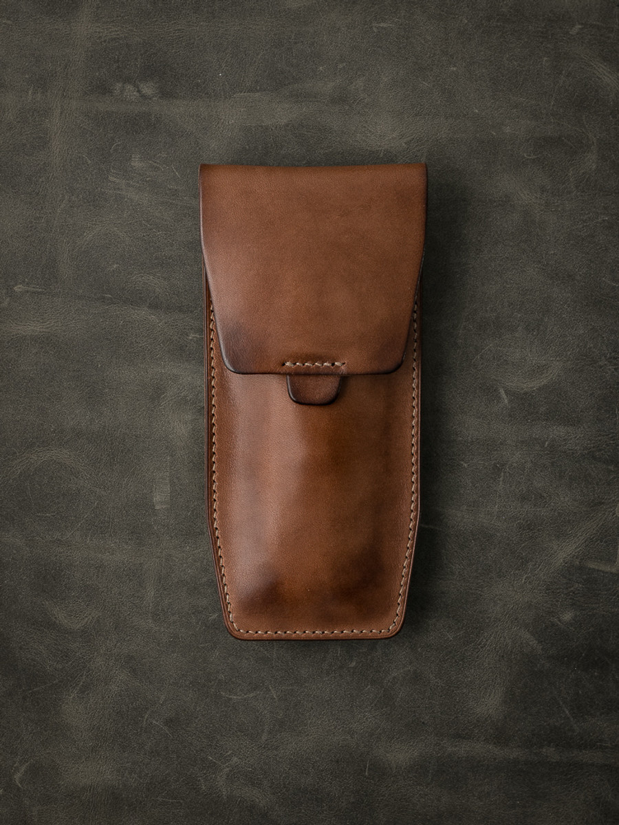 """Kingsford"" Russet Vintage Tan Leather Watch Pouch"