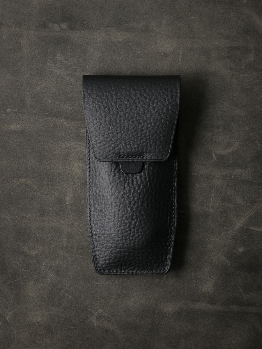 """Kingsford"" Pebbled Black Leather Watch Pouch"