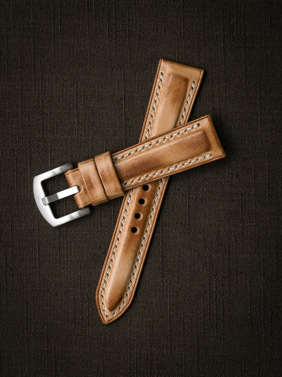 """""""Underwood""""  Natural Vintage Padded Leather Watch Strap"""