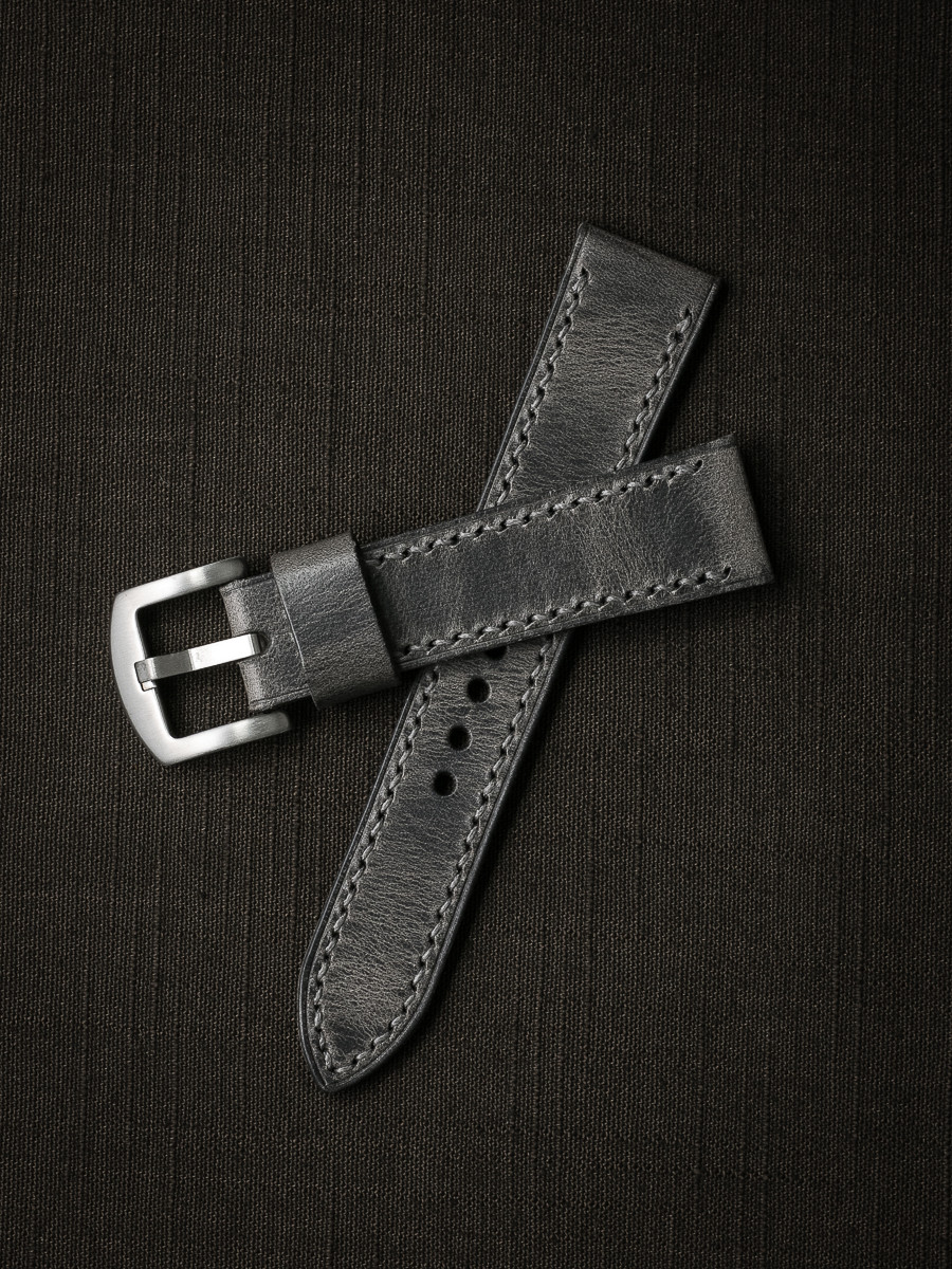 """""""Zeus"""" Vintage Ghost Grey Handcrafted Leather Watch Strap"""