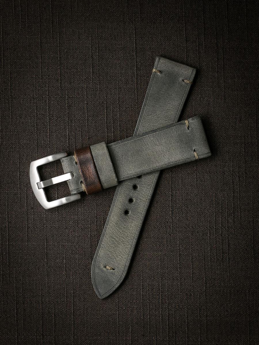"""Worthington"" Vintage Grey Green Leather Watch Strap"