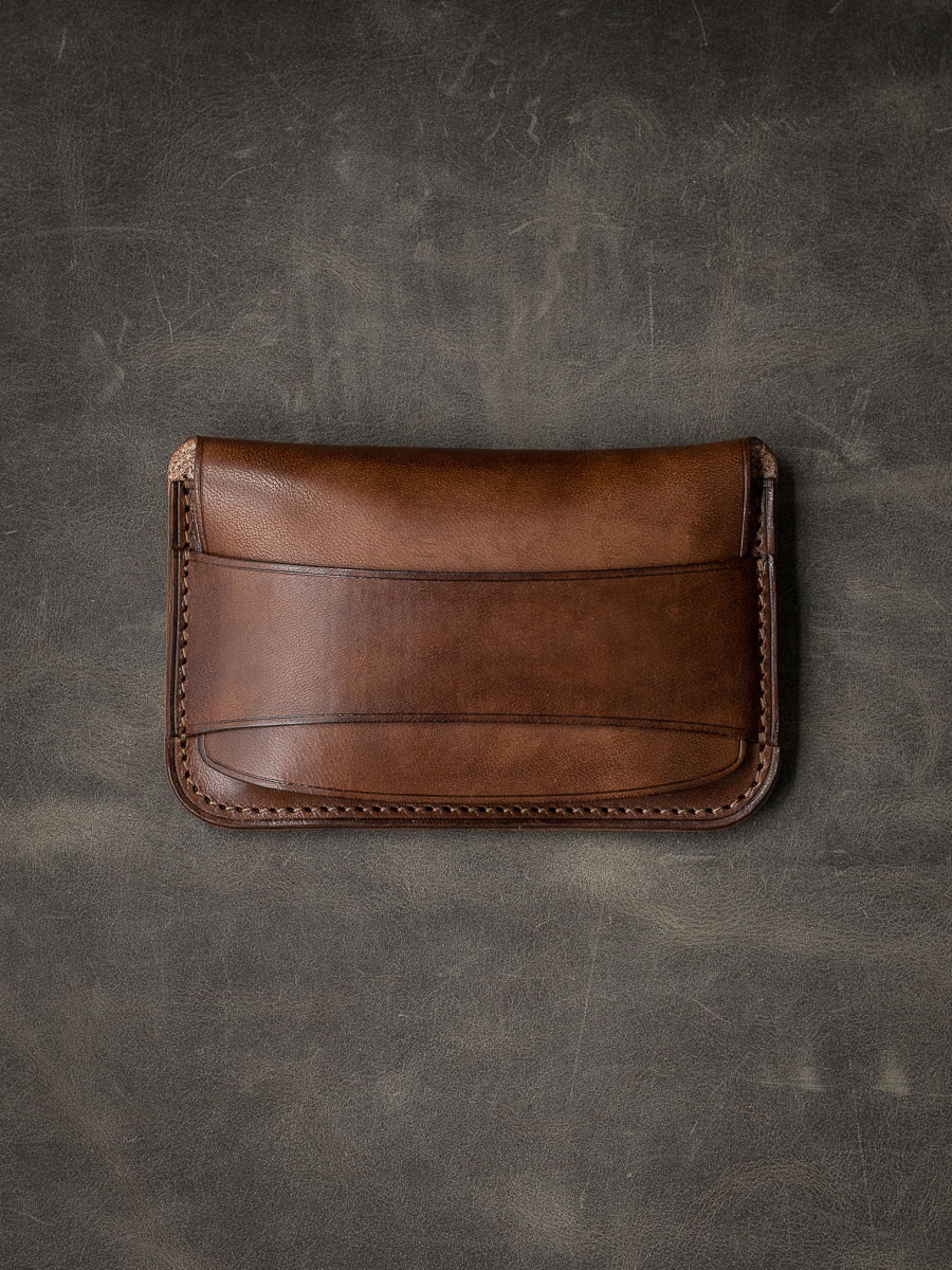 """Grant"" Vintage Russet Leather Flap Wallet"