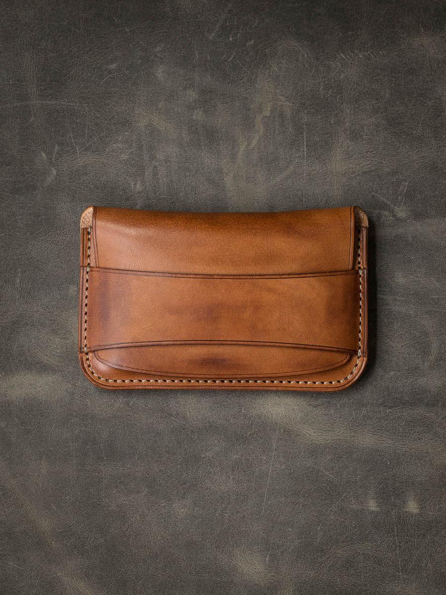 """""""Grant"""" Vintage Bourbon Leather Flap Wallet"""