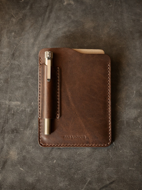 """Dante"" Walnut Brown Handmade Leather Notebook Sleeve"