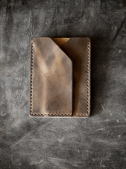 """Rex"" Brown Oil Tan Handmade Leather Slim Wallet Sleeve"