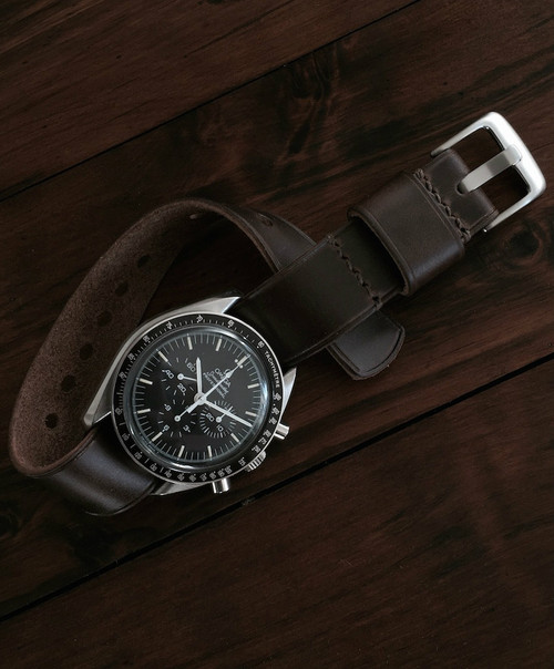 """Wesley"" Chocolate Brown Leather NATO Watch Strap"