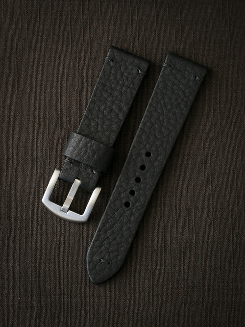 """Eckhardt"" Black Pebbled Leather Watch Strap"