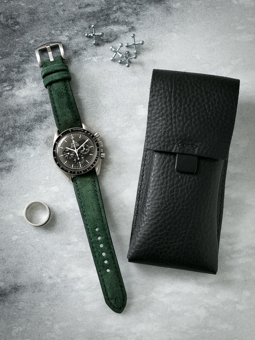 """Saatchi"" Malachite Green Padded Suede Watch Strap"