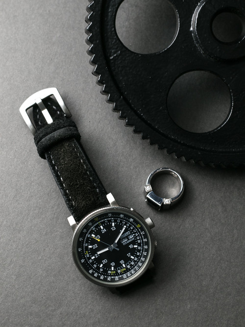 """Idris"" Jet Black Padded Suede Watch Strap"