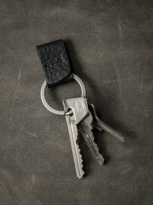 """Guardian"" Pebbled Black Handmade Leather Key Fob"