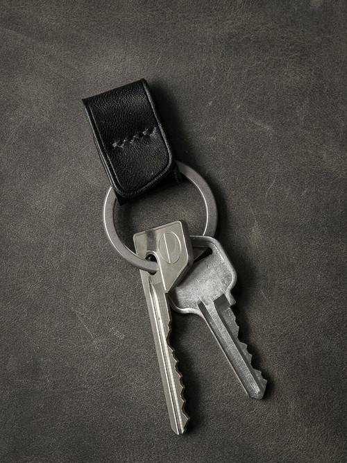 """Guardian"" Sleek Black Handmade Leather Key Fob"