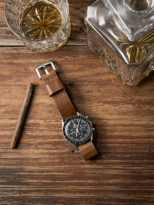 """Scotch"" Whiskey Leather NATO Watch Strap"