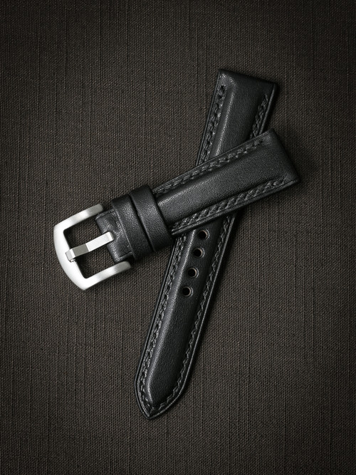 """Cliff"" Black Padded Leather Watch Strap"