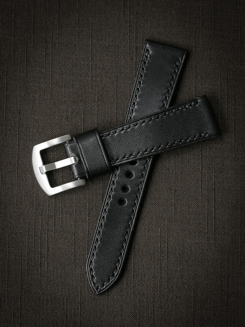 """Tate"" Black Leather Watch Strap"