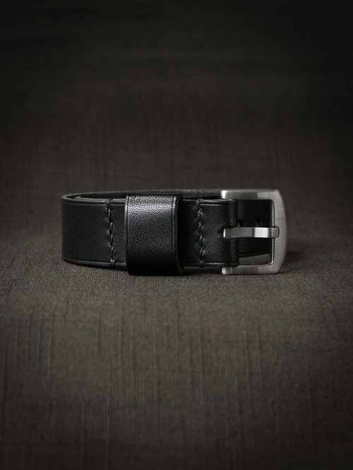 """Brit"" Black Leather NATO Watch Strap"