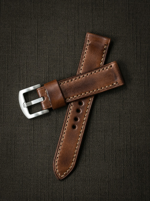"""Lockheed"" Russet Vintage Tan Leather Watch Strap"