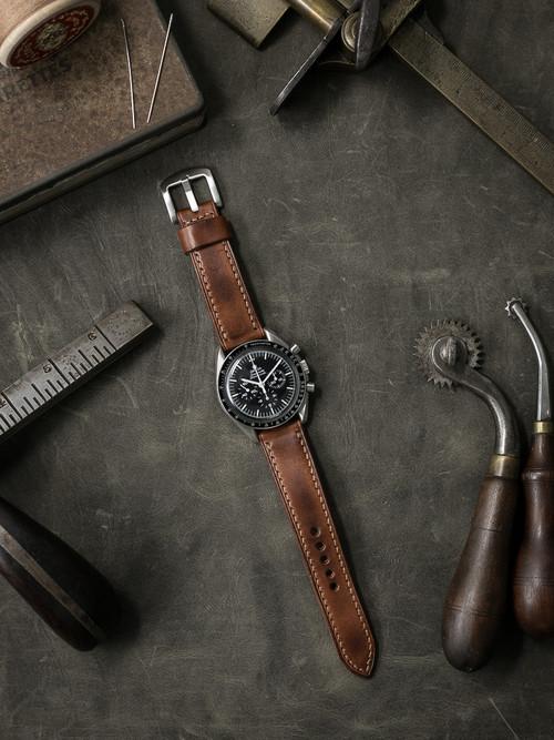 """Lockheed"" Russet Vintage Tan Leather Watch Strap"