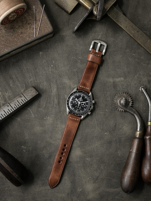 """Byron"" Russet Vintage Tan Leather Watch Strap"