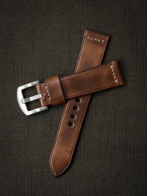 """Byron"" Russet Vintage Tan Leather Watch Strap"