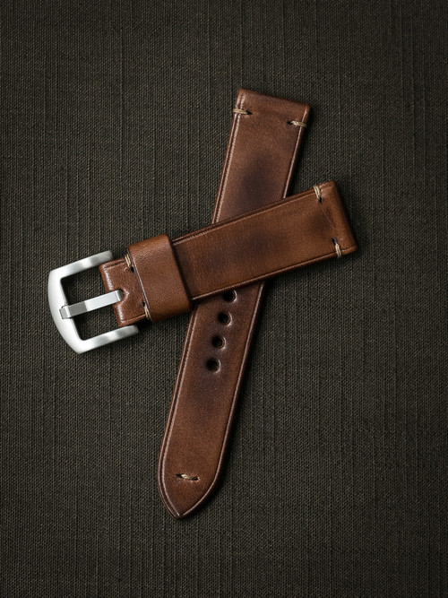 """Excelsior"" Russet Vintage Tan Leather Watch Strap"