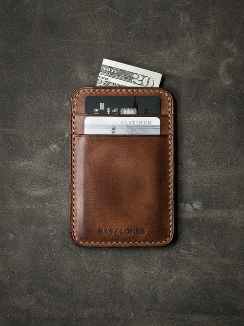 """Maddox"" Russet Vintage Tan Slim Leather Wallet"