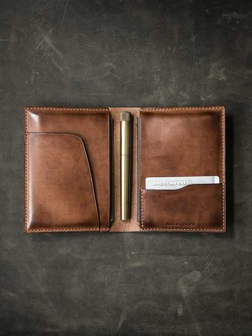 """Magellan"" Russet Vintage Tan Leather Double Passport Wallet"