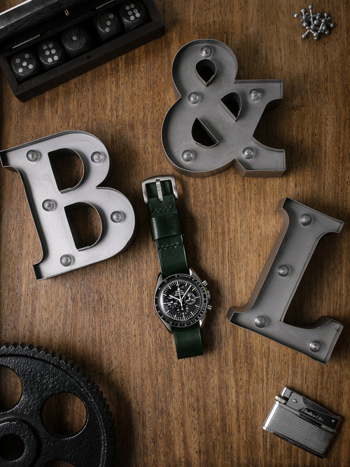 """Knight"" Racing Green Leather NATO Watch Strap"