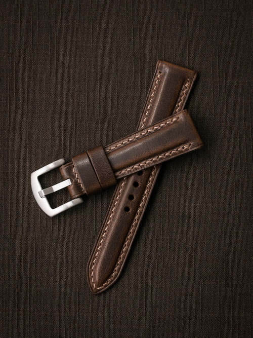 """Cambridge"" Vintage Aviator Brown Padded Leather Watch Strap"