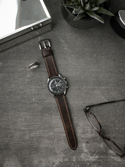 """Hawthorne"" Vintage Aviator Brown Handcrafted Leather Watch Strap"