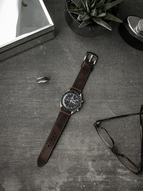 """Gavin"" Vintage Aviator Brown Leather Watch Strap"