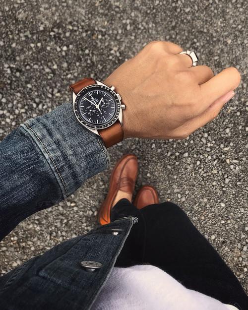"""Winchester"" Vintage Bourbon Leather NATO Watch Strap"