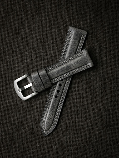 """Grant"" Vintage Ghost Grey Padded Leather Watch Strap"