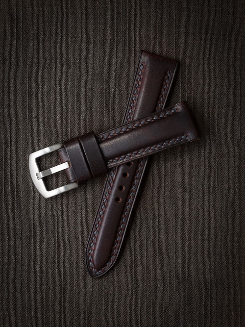 """Murdoch"" Burgundy Leather Watch Strap"