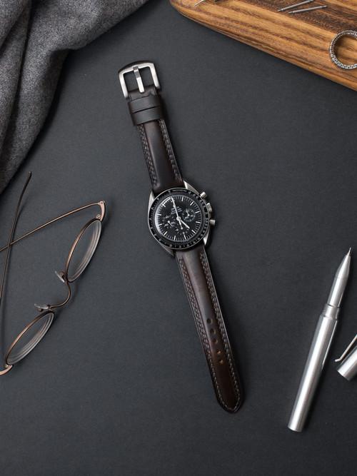 """Murdoch"" Burgundy Leather Watch Strap"