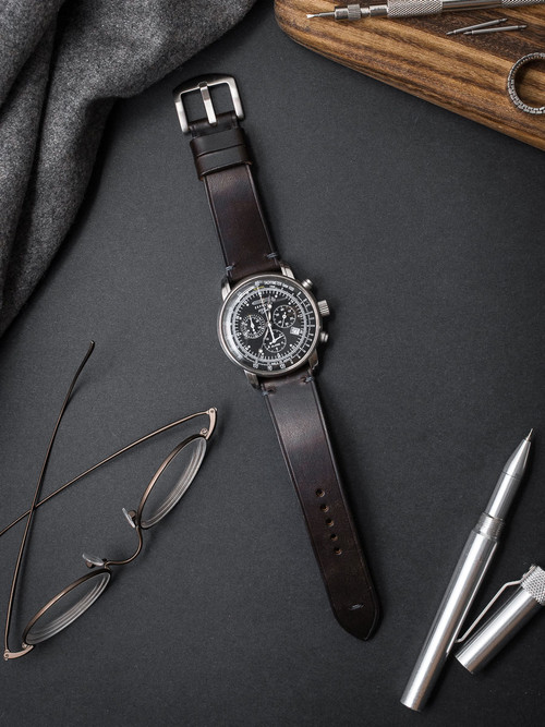 """Pierce"" Burgundy Leather Watch Strap"