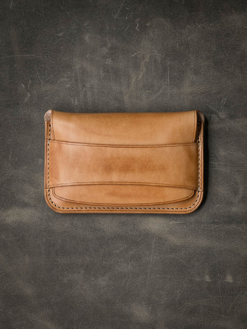 """Grant"" Vintage Natural Leather Flap Wallet"