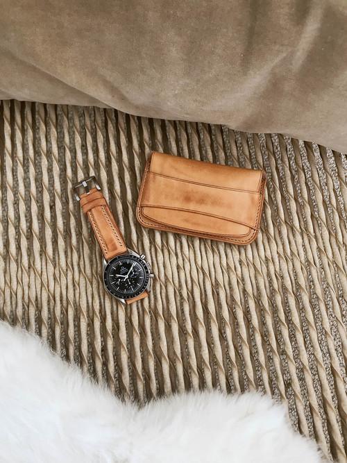 """Grant"" Vintage Natural Leather Flap Wallet"