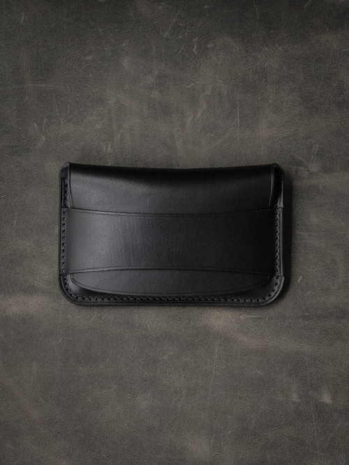 """Grant"" Rich Black Leather Flap Wallet"