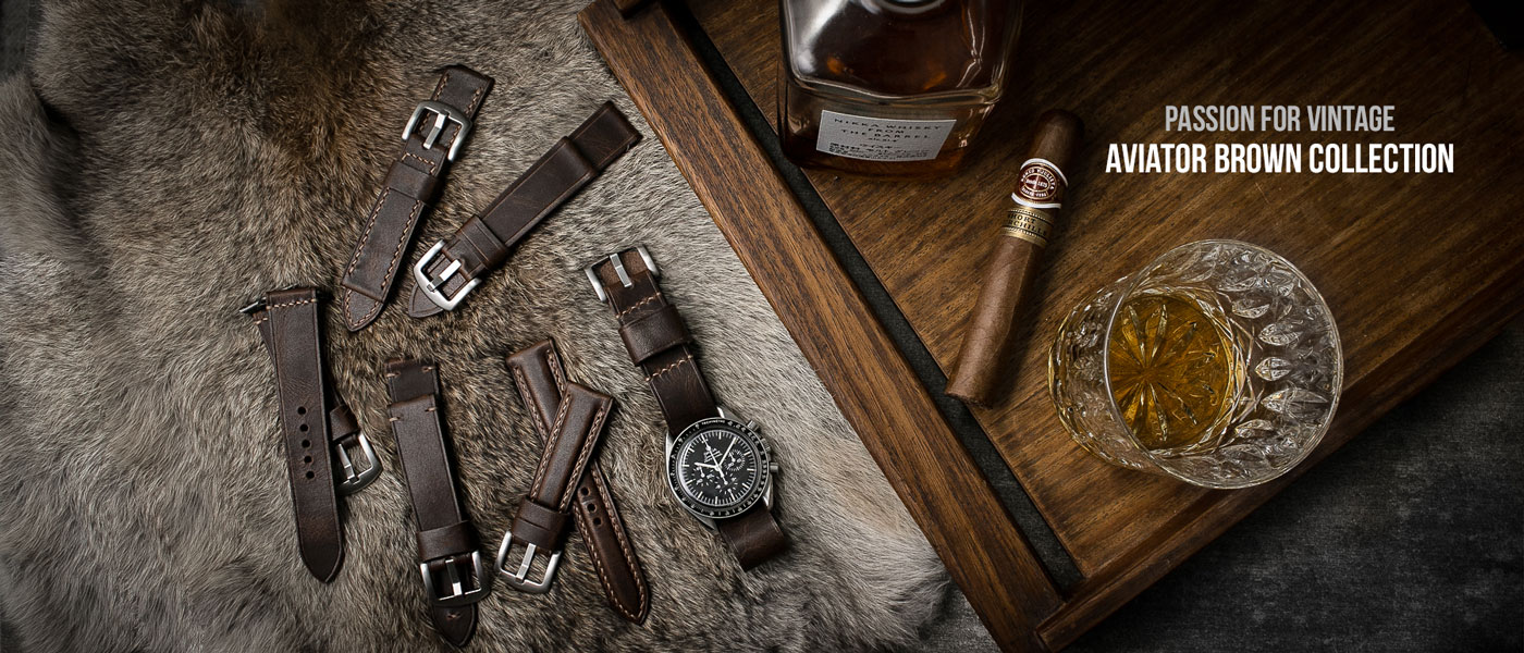 Aviator brown leather watch straps