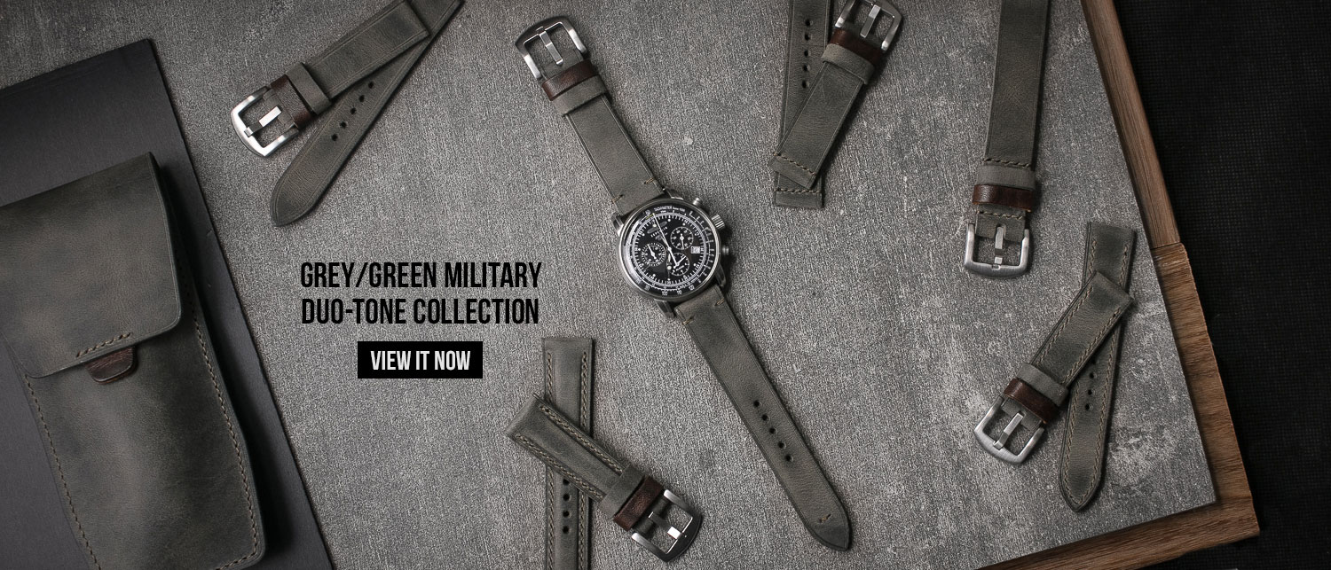 Military Grey Green Leather Watch Straps
