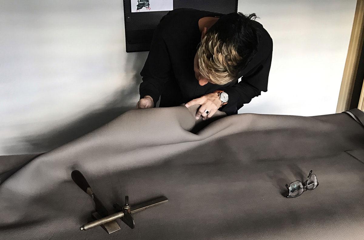 Examining leather
