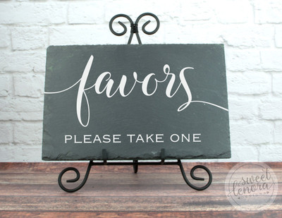 Please Take a Favor Slate Wedding Sign