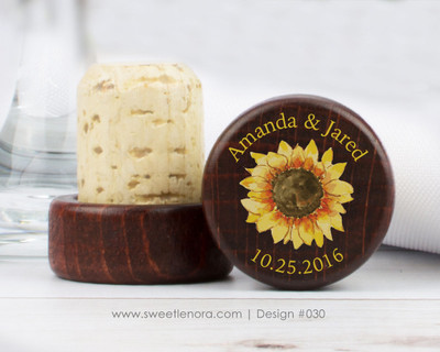 Sunflower Wine Stopper Favors 030