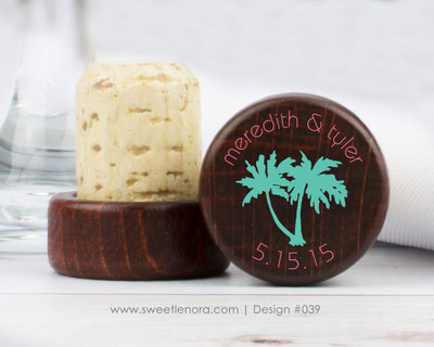 Palm Tree Wine Stopper Favors 039