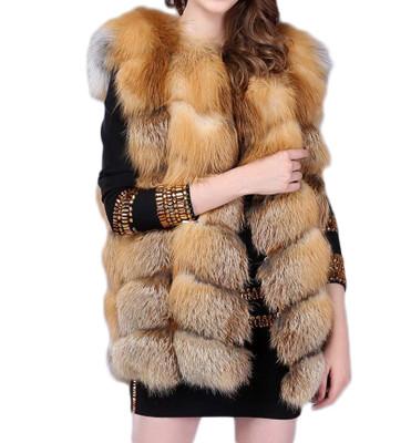Natural Check Fox Fur Gilet WAFF09