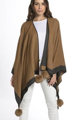 Cashmere Pom Pom Wrap in Camel and Grey CSRF6823A-09