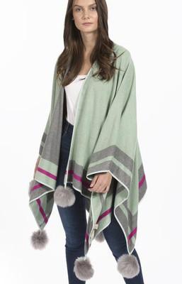 Cashmere Faux Fur Pom Pom Wrap in Green CSFM6823A-G07